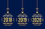 Happy New Year 2018, 2019, 2020 design elements