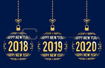 Happy New Year 2018, 2019, 2020 design elements