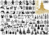 Set of 100 Christmas Icons
