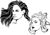 Two Sketches of Female Face