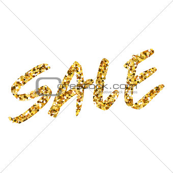 Gold glitter background with text Sale. Template for design, banner, flyer, tag, shopping, discount, web. Gold sparkle circle for your text. Vector illustration.