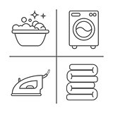 Washing, ironing, clean laundry line icons. Washing machine, iron, handwash and other clining icon. Order in the house linear signs for cleaning service