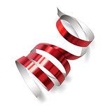 Festive ribbon on white background