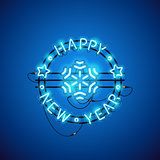 Happy New Year Blue Neon Sign