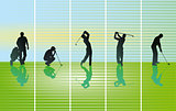 Golfer on green, illustration