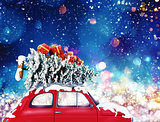 Vintage car with Christmas tree and presents with night light. 3d rendering