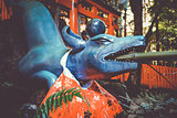 Fox purification fountain at Fushimi Inari Taisha, Kyoto, Japan