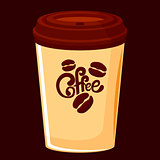 Beige paper cup with a cover for coffee on a takeaway with a picture of coffee and coffee beans