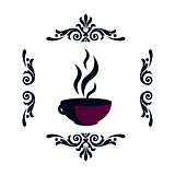 Silhouette of a hot cup with a steam in a frame of patterns