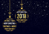 christmas and new year 2018 greeting card