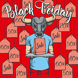 Vector illustration of bull on Black Friday