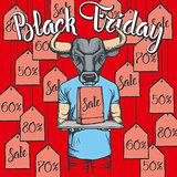 Vector illustration of bull on Black Friday