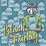Vector illustration of dog on Black Friday