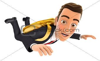 3d businessman golden parachute concept