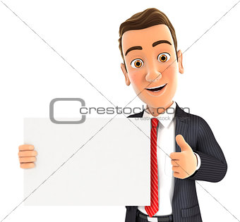 3d businessman holding placard with thumb up