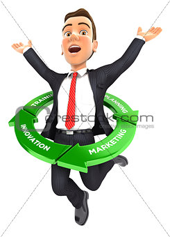 3d businessman jumping inside success cycle