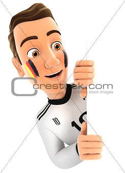 3d german soccer fan peeping over blank wall