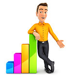 3d man leaning against bar chart