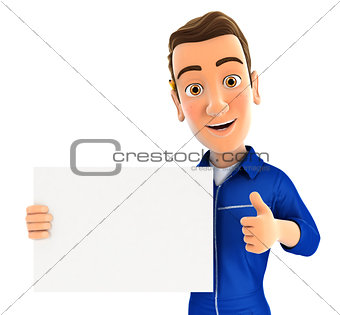 3d mechanic holding placard with thumb up