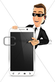 3d security agent pointing to blank smartphone