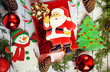 Christmas composition - gingerbread cookies - Santa and Christmas, New Year in a gift box.
