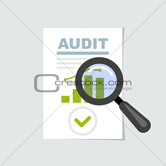 Audit and report icon - magnifier on, verification and review co