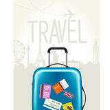 Travel around the world - modern suitcase with travel tags