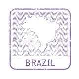Stamp with contour of map of Brazil - contour of Brazil