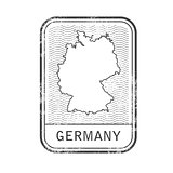 Stamp with contour of map of Germany - contour of Germany