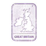 Stamp with contour of map of Great Britain - contour of UK