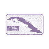 Stamp with contour of map of Cuba - contour of Cuba