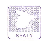 Stamp with contour of map of Spain - contour of Spain