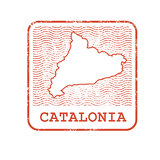 Stamp with contour of map of Catalonia - contour of Catalonia