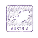 Stamp with contour of map of Austria - contour of Austria