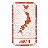 Stamp with contour of map of Japan - contour of Japan