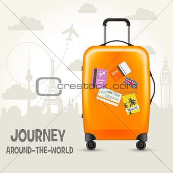 Modern suitcase with travel tags - sightsseeing around the world
