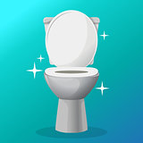 White ceramics vector toilet bowl icon. modern toilet in flat style. Vector illustration.