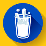 glass of milk splash vector icon flat style