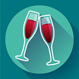 Two glasses of wine flat icon - celebration symbol