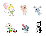 Six children's characters