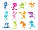 Set of cartoon children