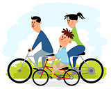 Family outing on bicycles