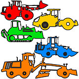 Set  color silhouettes  road construction equipment. Vector illustration.