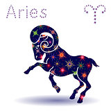 Zodiac sign Aries stencil