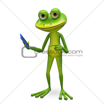 3d Illustration Frog and Smartphone