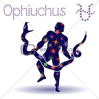 Alternative Zodiac sign Ophiuchus stencil