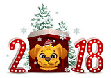 2018 year of yellow dog in Chinese calendar. Cartoon dog in doghouse looks forward and christmas pine tree
