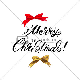 Merry Christmas lettering on a white background. Vector illustration