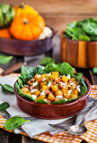 Butternut squash, bacon, spinach and feta cheese warm salad
