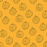 Seamless pattern for Halloween with pumpkins